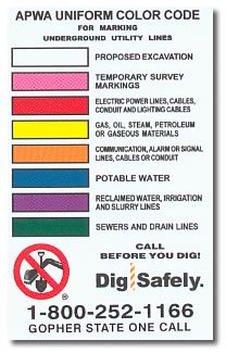 Dig Safely Color Code Key Gopher State One Call
